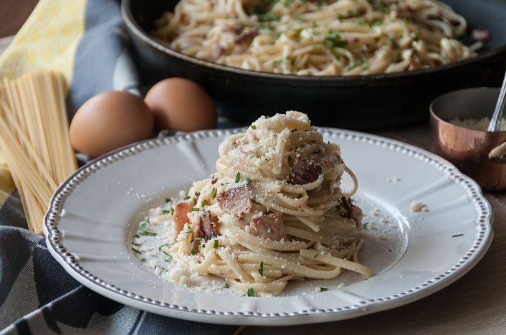Authentic Linguine Carbonara. Chop the bacon in to cubes. 	Heat a pan over high heat and when very hot, sauté the bacon until it browns and becomes crunchy. When ready, set aside. 	In a pot with salted ...