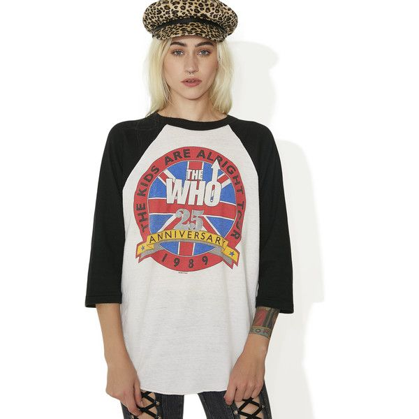 Vintage The Who Raglan Tee ($200) ❤ liked on Polyvore featuring tops, t-shirts, oversized white tee, white t shirt, vintage white t shirt, white tees and white graphic tees