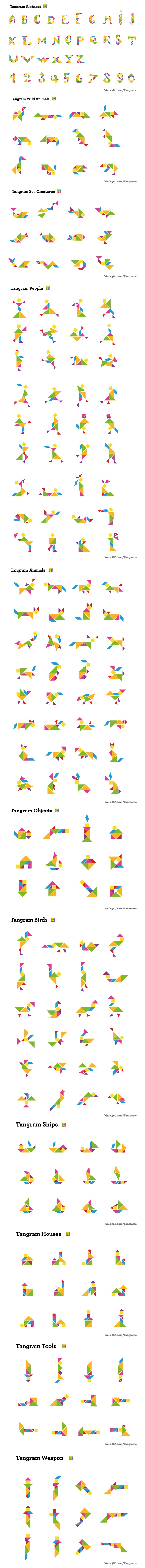Infinite visual possibilities from Tangrams. http://www.walls360.com/tangrams