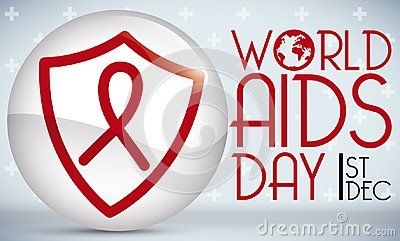Button with shield and red ribbon over it, to celebrate World AIDS Day.