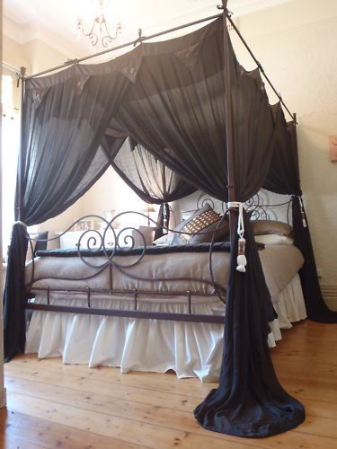 Four Poster Bed Canopy Muslin Mosquito Net Queen 155cmx205cm Chocolate Brown