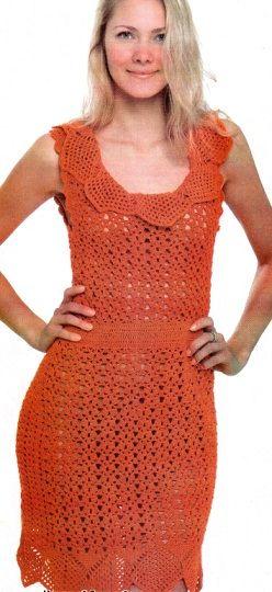 "№ 9/2013 Dress connected hook number 3 of 600 g of yarn ""Violet"" orange color (100% cotton). Size 42-44. As associate openwork crochet dress"