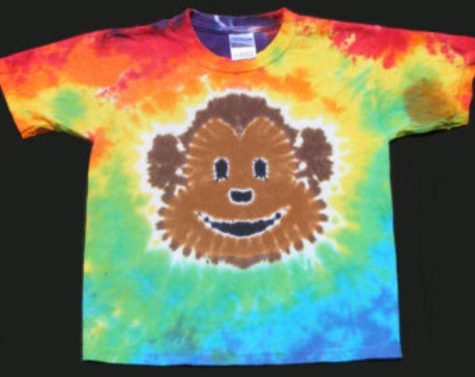 Youth Tie Dye Shirt Rainbow Monkey