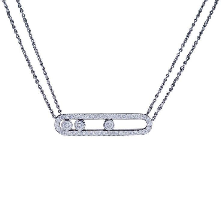 Collier Move Pavée double chaîne or blanc et diamants