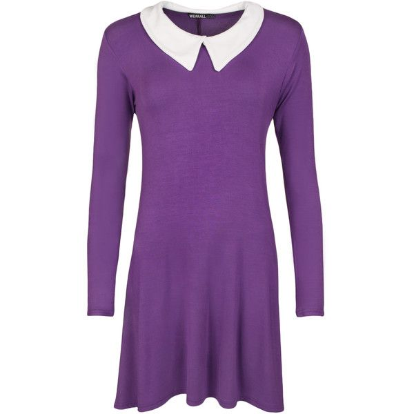 Elsa Long Sleeve Plain Collar Swing Dress ($23) ❤ liked on Polyvore featuring dresses, purple, longsleeve dress, long sleeve dress, collar swing dress, tent dress and flared dresses