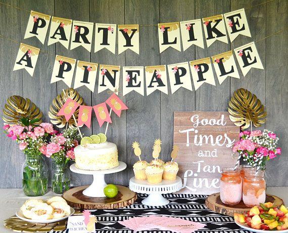 Fiesta como una piña bandera signo de fiesta tropical fiesta