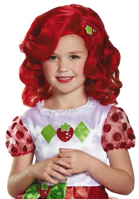 Child Strawberry Shortcake Red Curly Wig - Complete your cute Strawberry Shortcake Child's Costume with this red Curly Strawberry Shortcake wig. This officially licensed child wig is a curly hairdo with side swept bands, and a cute strawberry sewn on the side. Plan a tea party with all her friends this Halloween!