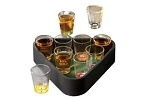 Shots Game Night Pool. Set de 10 vasos tequileros en fel fondo del vaso puedes ver la forma de bola de billar. Incluye el triangulo para servirlos como en una mesa de billar. Especial para servir en una noche con el tema de casino o Las Vegas.