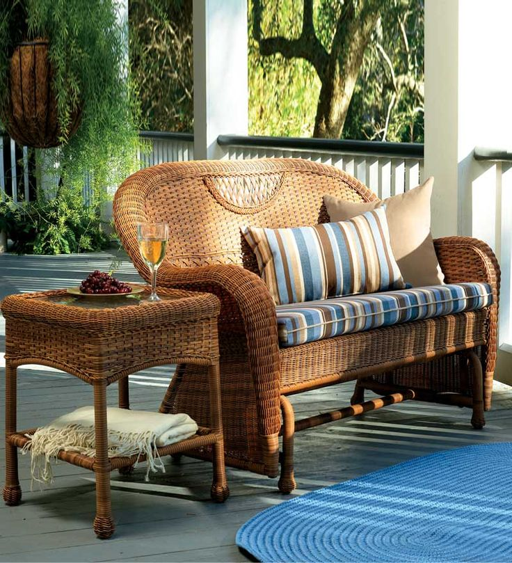 Outdoor wicker furniture is perfect for porches (and tough enough for the patio).