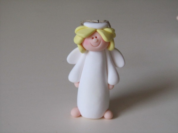 Polymer Clay Angel Ornament by ClayPeeps on Etsy