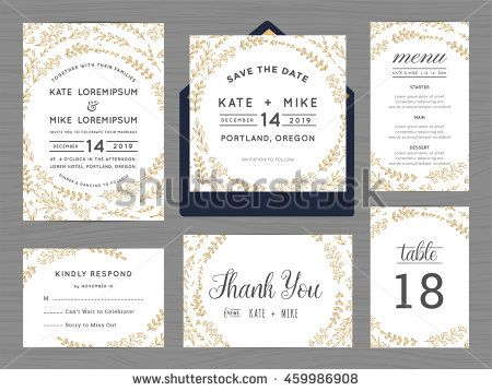 71 best paper wedding images on pinterest invitation cards set of wedding suite template decorate with wreath flowers in golden color includes save the date stopboris Images