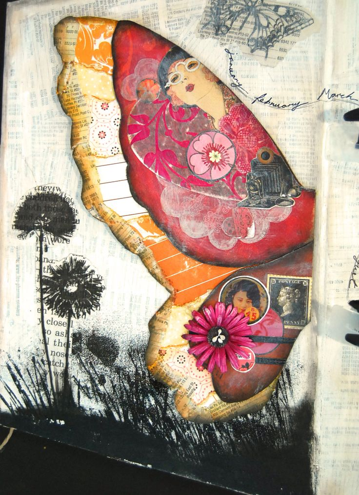 Butterfly: Pretty Butterflies, Collage Journals, Mixed Media Ideas, Birds Wings, Collage Ideas, Multimedia Collage, Art Journals, Mixed Media Birds, Birds Mixed Media
