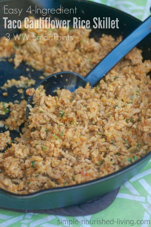 weight watchers easy 4 ingredient taco cauliflower rice skillet, 225 cals, 3 SmartPoints https://simple-nourished-living.com/2016/07/weight-watchers-easy-taco-cauliflower-rice-skillet-recipe/