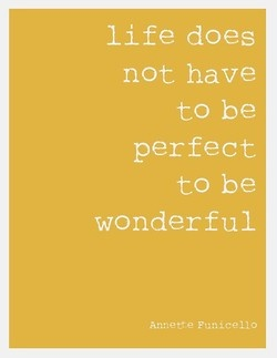 Just a friendly reminder... Life does not have to be perfect to be wonderful!