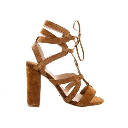 A tan velvet suede peeptoe block heel with thick bonding open layered strapping that closes around the ankle.  Leather upper and synthetic lining. Heel height is 10.5cm.