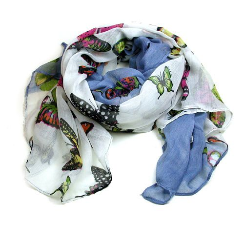 Pretty multicoloured butterfly print scarf with blue border | eBay