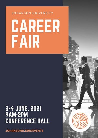 Dark Blue And Orange Job Fair Flyer Marketing Inspiration Event