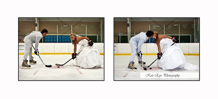 Yes to hockey wedding pics- if J and C get married this would be so cute