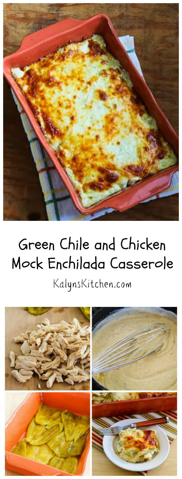 #BackToSchool means it's time for casseroles, and this Green Chile and Chicken Mock Enchilada Casserole is a #LowCarb and #GlutenFree healthy casserole recipe the whole family will enjoy. This has been hugely popular on my blog and all my extended family loves it. [from KalynsKitchen.com]