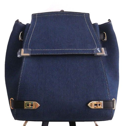 Blue Colour Denim Fabric Women Backpack