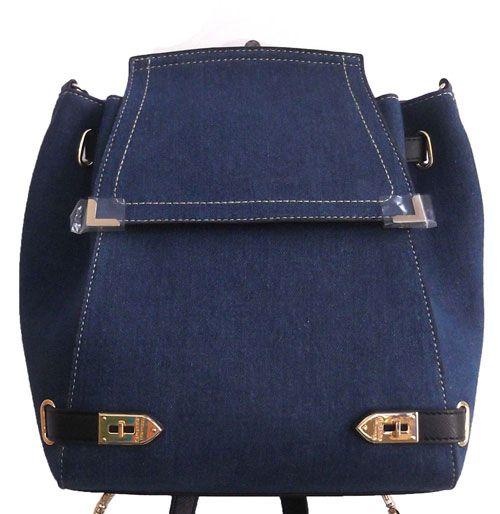 Blue Colour Denim Fabric Women Backpack