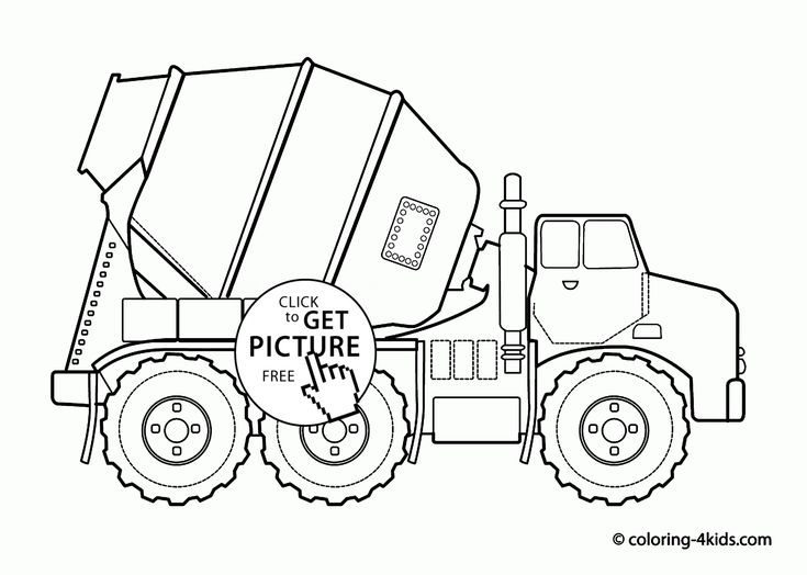 Cool Cement Truck Coloring Page For Kids Transportation