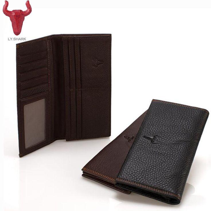 LY.SHARK Top Genuine Leather Wallet Mens New designer Cowhide Long Purse Business Male Clutch cion Card Holder Zipper Pocket bag #Affiliate