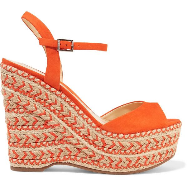 Schutz - Veridiane Nubuck Wedge Sandals (€90) ❤ liked on Polyvore featuring shoes, sandals, bright orange, evening sandals, t-strap flats, flats sandals, strappy flats and orange flats