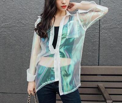 Women Iridescent Hologram Transparent Jacket Holographic Coat Rainbow Outerwear