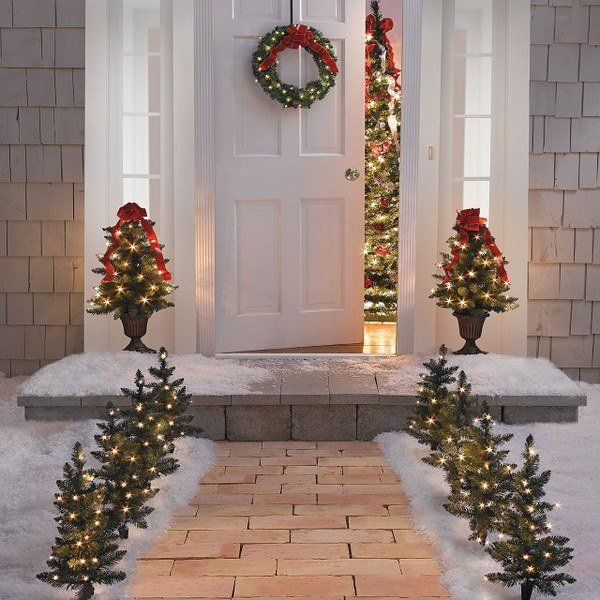 House Entrance Christmas Decoration Pre Lit Trees Doorway Outdoor