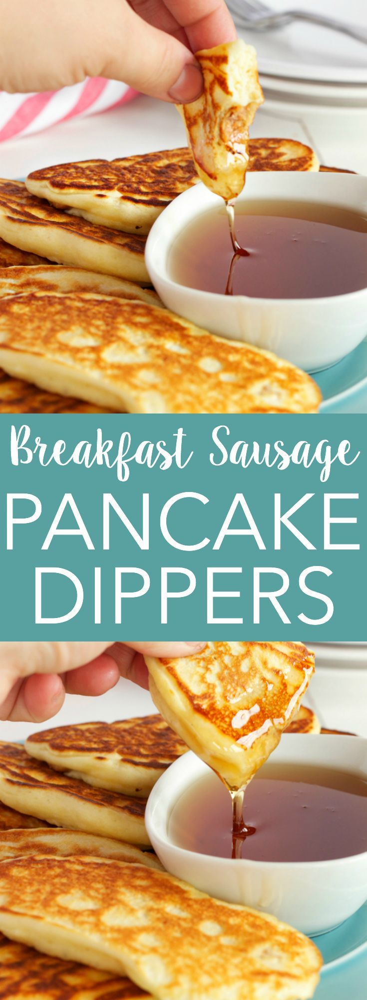 These Breakfast Sausage Pancake Dippers are the perfect breakfast finger food! Recipe from thebusybaker.ca!