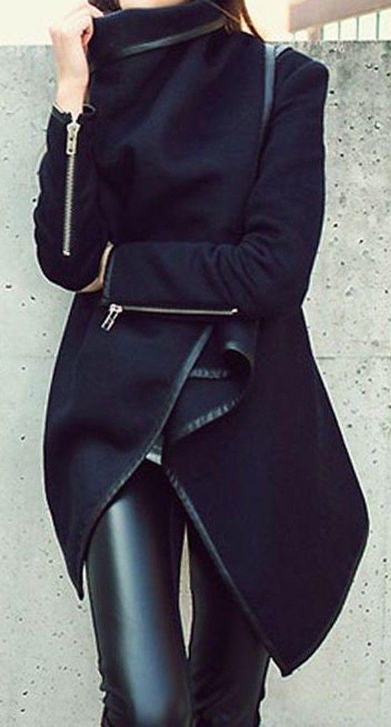 Dark Blue Plain Irregular Asymmetric Zipper Turndown Collar Long Sleeve Fashion Wool Coat
