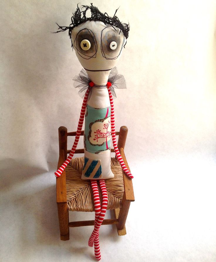 OOAK Anxiety Faerie art doll with button eyes and tulle wings. by Snotnormal on Etsy https://www.etsy.com/listing/259472080/ooak-anxiety-faerie-art-doll-with-button