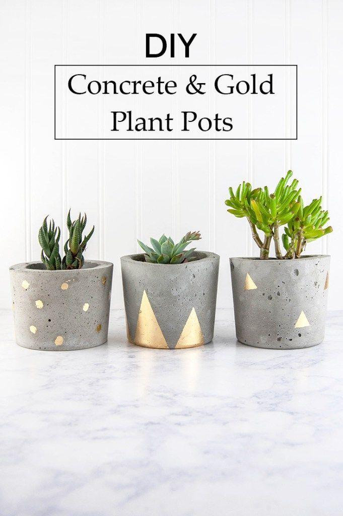 Concrete & Gold Plant Pots diy craft planter crafts diy crafts do it yourself di…