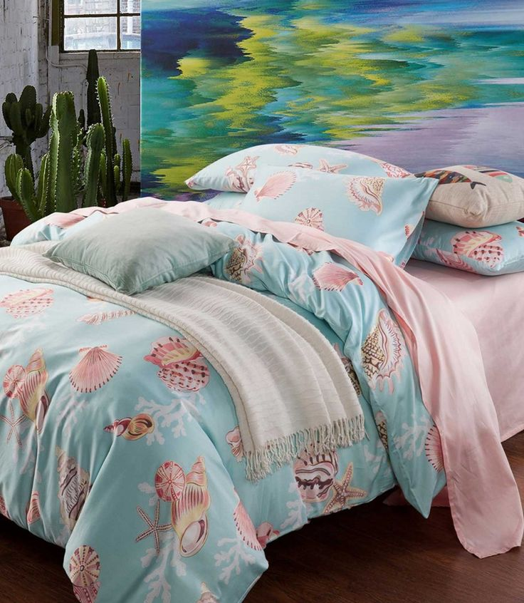 Blue mediterranean bed set adult,full queen king cotton sea shells marine double home textile flat sheet quilt cover pillow case