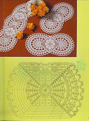 Filethäkeln Tischdeckchen - filet crochet doily