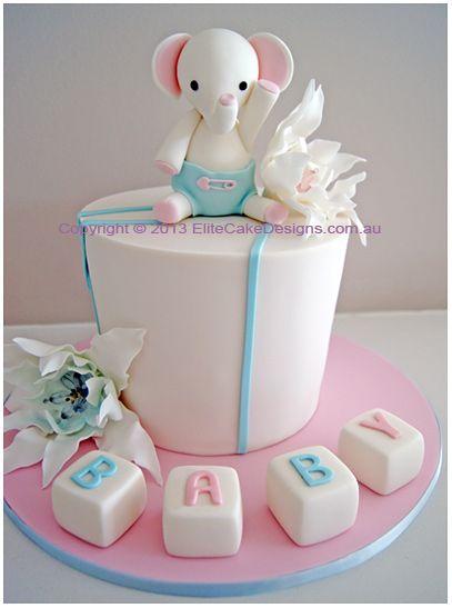 Little Elephant Baby Shower Cake, Baby Shower Cake Designs, Animal Baby Shower Cakes, Designer Specialty Cakes