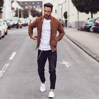 Men's Tobacco Suede Bomber Jacket, White Crew-neck T-shirt, Black Jeans, White Low Top Sneakers