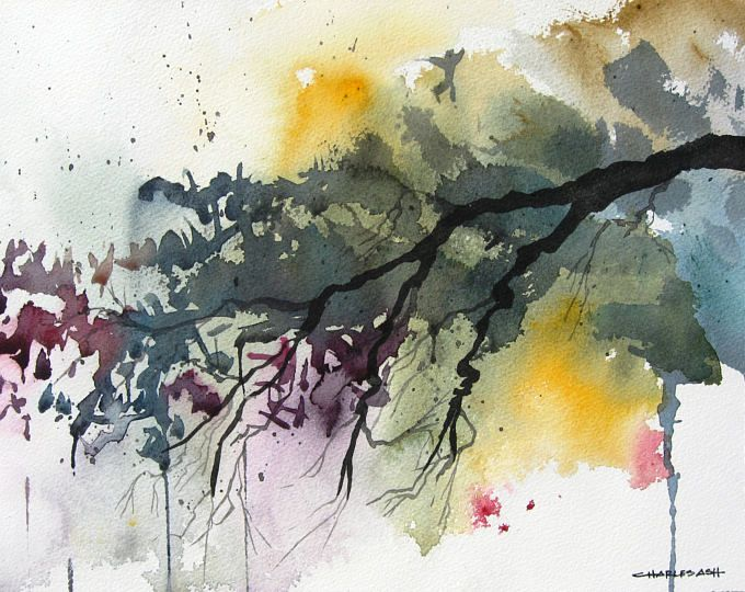 Cottonwood Sunset Original Watercolor Painting Etsy Watercolor
