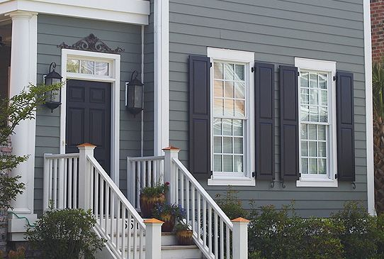 Navy Shutters Medium Blue Grey Exterior Exterior Color