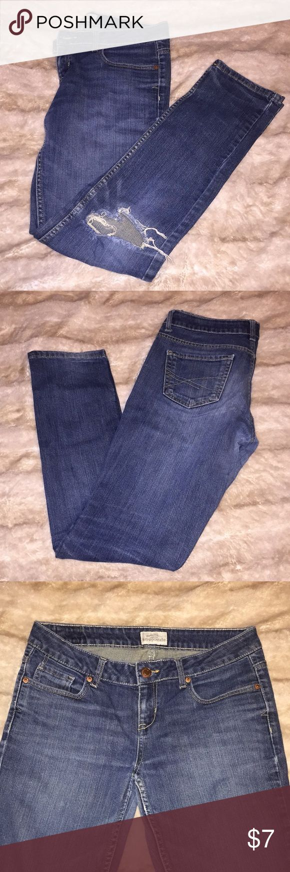 Aeropostale Bayla Skinny Jean Aeropostale Bayla Skinny Jean. 9/10 Regular (fits like women's 8). A bit worn, but has life left-price reflects! Nice regular wash, basic jean to add to your closet.   Make any reasonable offer, and I'll be happy to consider it!☺️ Aeropostale Jeans Skinny