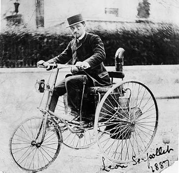 leon serpollet on his first steam tricycle 1887 in 1890 serpollet travelled the 286 miles from. Black Bedroom Furniture Sets. Home Design Ideas