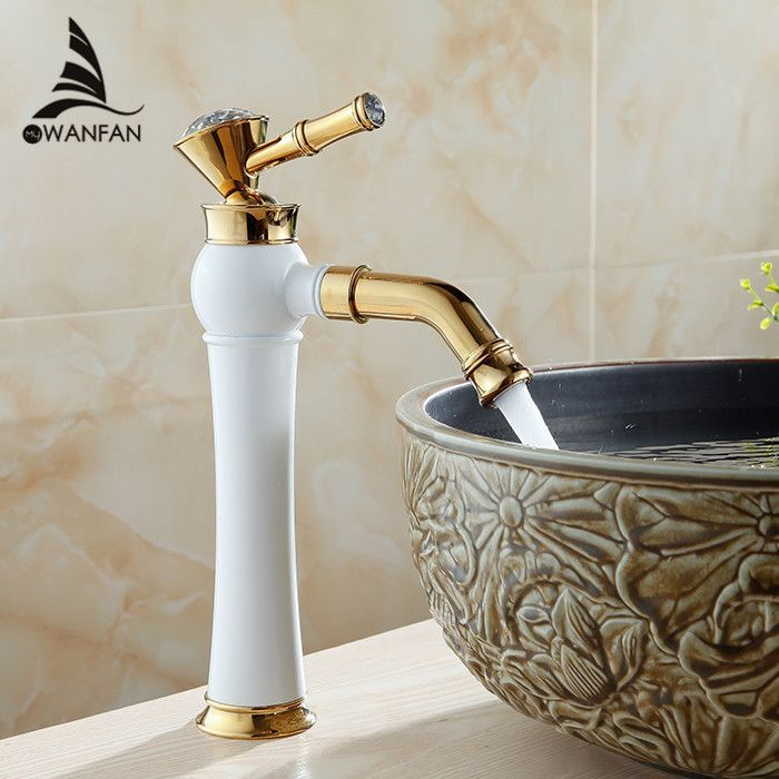 Ly Grilled White Paint Golden Polished Faucets Bathroom Basin Sink Mixer Tap Faucet Hot Cold Water Al-7309Dk