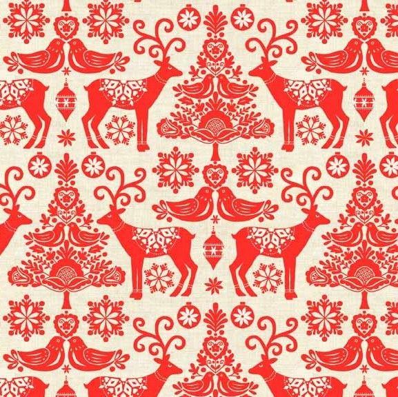 Makower Christmas 2015 Scandi II Reindeer Red Quilt Cotton