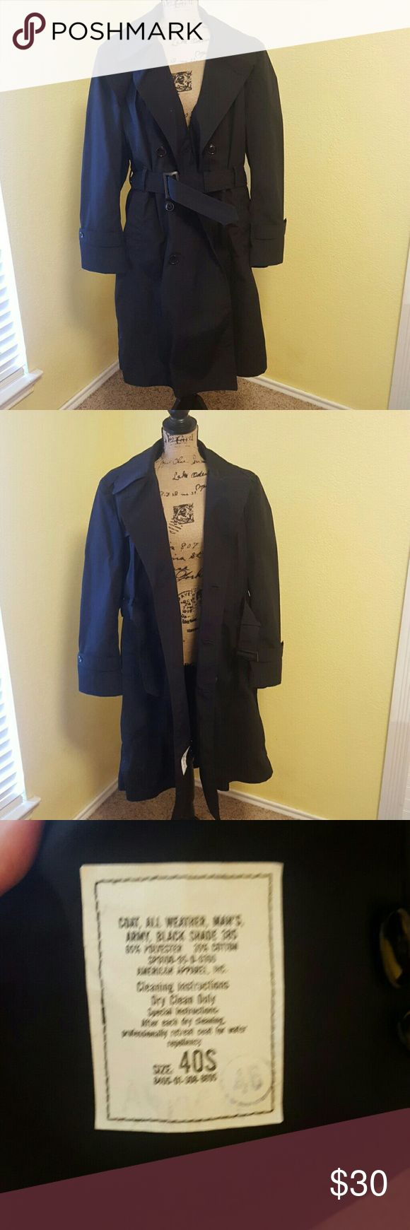 Black Trench  Coat All-weather men's army black coat size 40s, fits men in size medium fits women in size large. Excellent condition. US Army Jackets & Coats Trench Coats