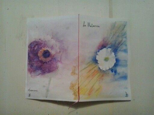 quaderno rilegato a mano copertina e retro ad acquarello