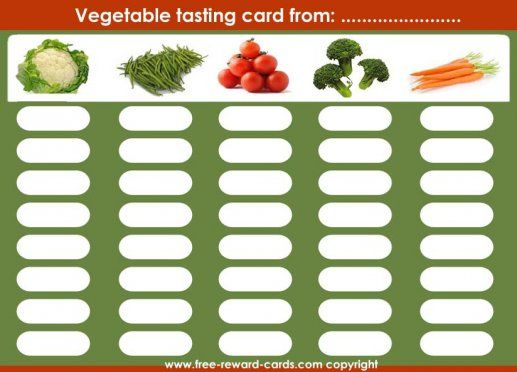 reward card tasting vegetables, On this card you can monitor how often your child has tasted the vegetables. Since children get used to a taste after several times, it is likely that your child will like the vegetables hereafter!
