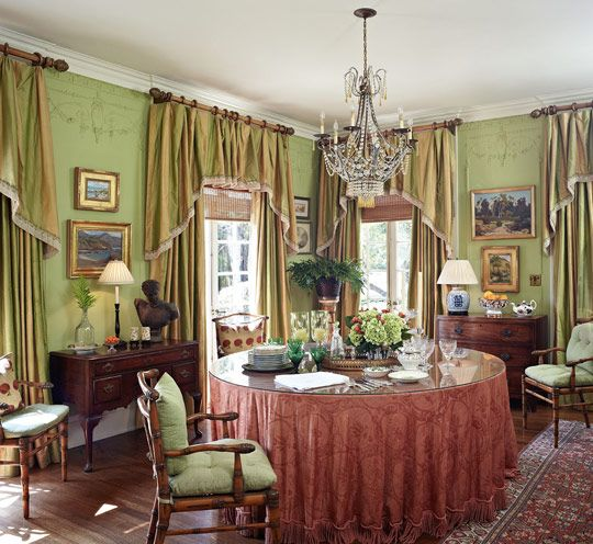 In The Strikingly Green Dining Room Anna Clark Combines Fancy And Not So Tempering Silk Curtains With Bamboo Shades Curtain Material Is
