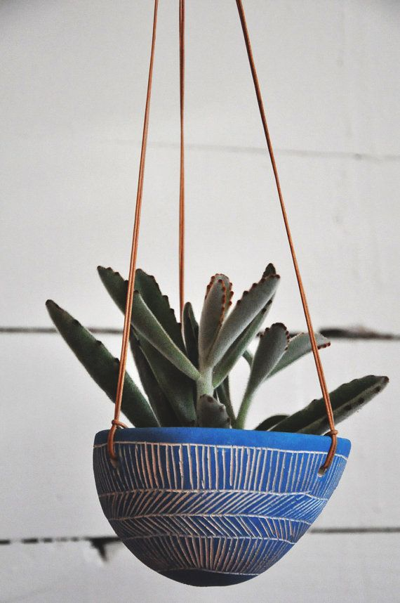 Hand Carved Ceramic Hanging Planter w/ Line by HalfLightHoney