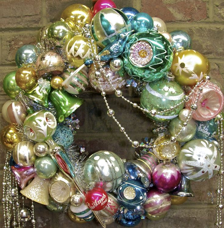 """""""Ice Carnival"""" wreath made from vintage ornaments"""